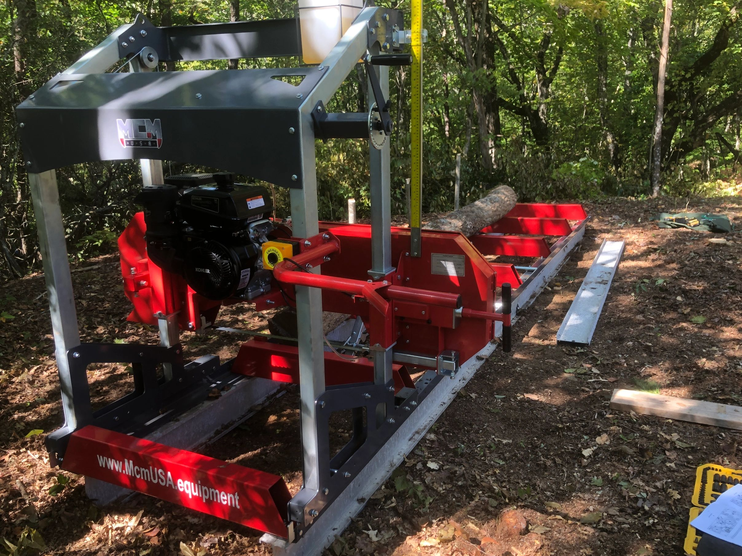 MCM USA RPR14 Kohler 14hp Sawmill 12ft track standard.  Additional track and trailer options availab
