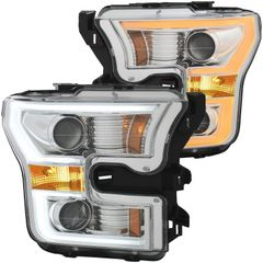 ANZO Projector Headlights Chrome w/ Amber - 2015-2017 Ford F-150