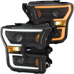 ANZO Projector Headlights Black w/ Amber - 2015-2017 Ford F-150