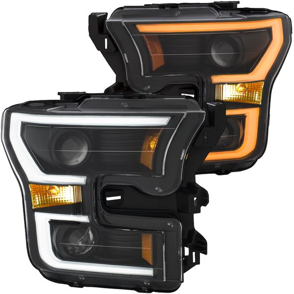ANZO Projector Headlights Black w/ Amber - 2015-2017 Ford F-150