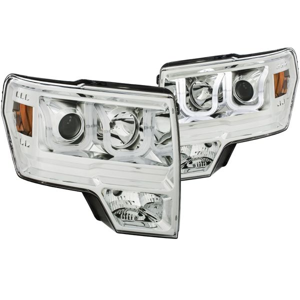 ANZO Projector Headlights w/ U-Bar Chrome Amber 2010-2014 Ford F-150