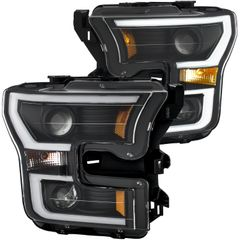 ANZO Projector Headlights Black Clear Amber - 2015-2017 Ford F-150