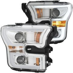 ANZO Projector Headlights Chrome Clear Amber - 2015-2017 Ford F-150