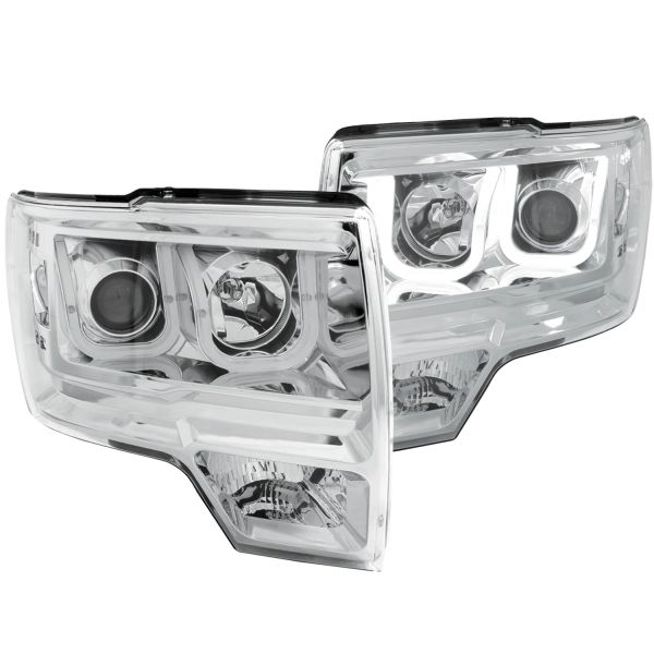 ANZO Projector Headlights w/ U-Bar Chrome 2010-2014 Ford F-150