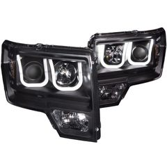 ANZO Projector Headlights U-Bar Black Clear 2011-2014 Ford F150