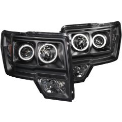 ANZO Projector Headlights Halo Led Black - 2011-2014 Ford F150