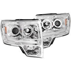 ANZO Projector Headlights w/ Halo Chrome - 2011-2014 Ford F150