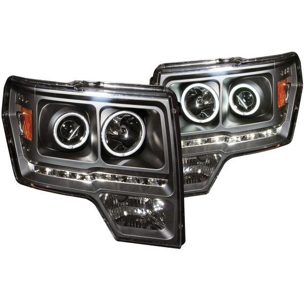 ANZO Projector Headlights w/ Halo Black CCFL - 2011-2014 Ford F150