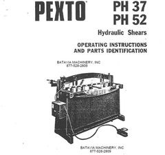 PEXTO PH37 PH52 HYDRAULIC SHEARS BOOKLET