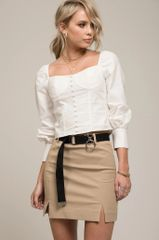 Moon River Corset Style Cropped L/S Top