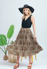 Everly accordian pleat animal print skirt