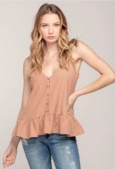 Everly Covered Button Front Ruffle Waist Cami