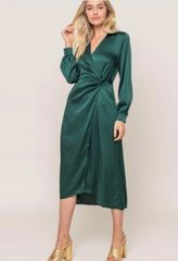 Long sleeve satin midi dress