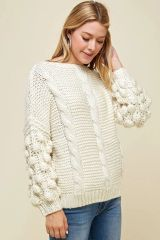 Popcorn sleeve sweater