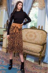 Animal print knit skirt