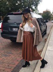 Faux leather accordion pleated midi skirt