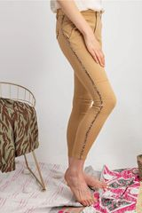 Fitted moto pants with animal print detail