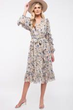 V Neck floral print midi dress