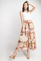 Floral print cropped wide leg pant