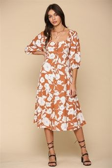 Floral Linen Viscose Midi Dress