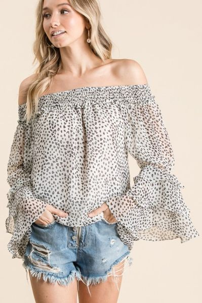 Off-Shoulder Ruffle Bell Sleeve Top