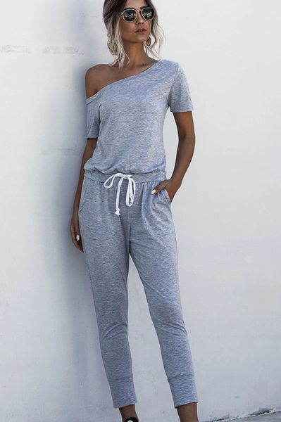 Off-shoulder knit jumpsuit