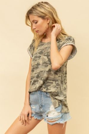 Camo Tee Shirt with Embroidered Detail