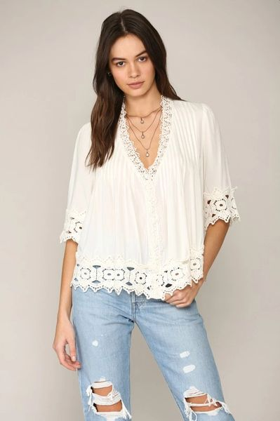 Challis top with crochet lace trim