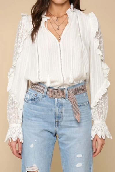 Ruffle sleeve shirt with lace