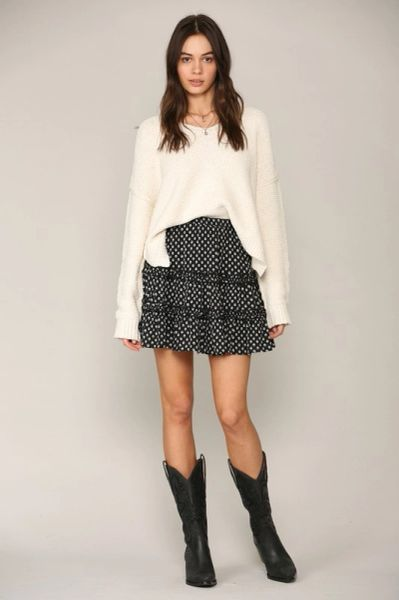 Mini print tiered ruffle skirt