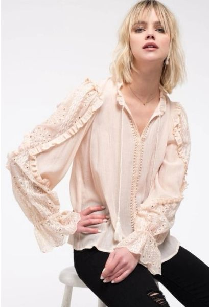 Boho style top with ruffle detail