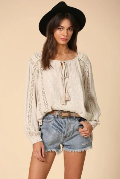 Embroidered front boho tunic top