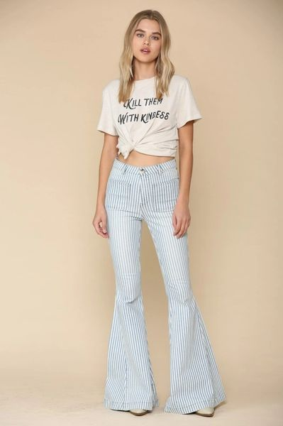 Pinstripe Wide Flare Bell Bottom Jean