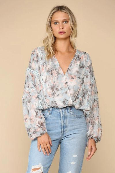 Floral Surplus Wrap Top