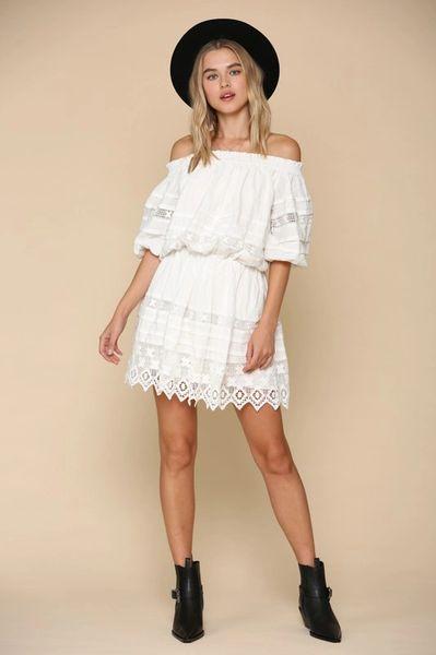 Off-Shoulder Lace Detail Dress