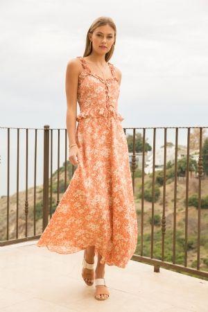 Floral Print Midi Sun Dress