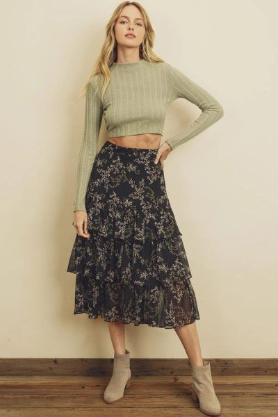 Night Shade Tiered Midi Skirt
