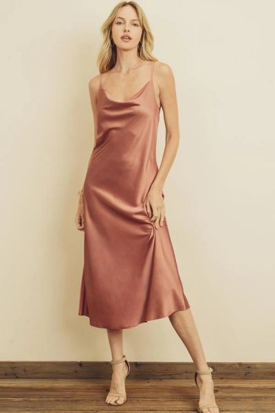 Cowl Neck Satin Slip Dress