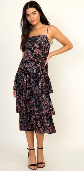 Moonlight Paisley Midi Dress