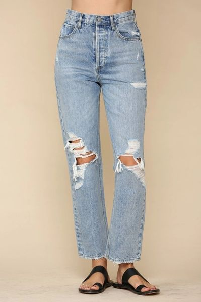 Zip Front Distressed Jeans