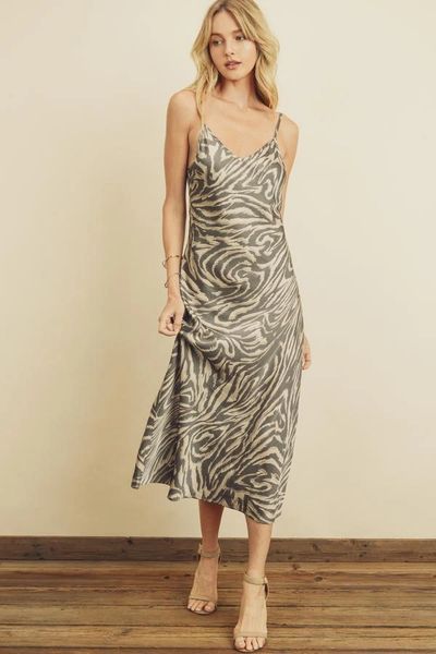 Safari Print Slip Dress