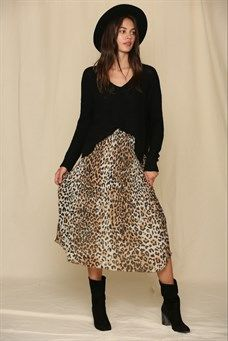 Leopard Print Chiffon Skirt