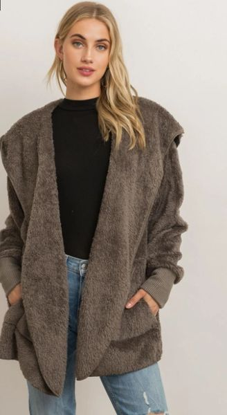 Hooded Open Faux Fur Jacket
