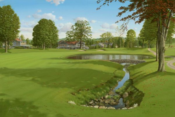 """Original Oil Painting, size 24x36"""". Firestone Country Club."""