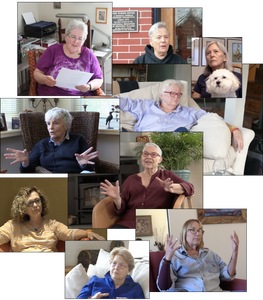 A composite of nine pictures of individual Furies during their interviews.
