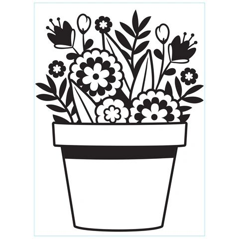 Flowers in a Pot - Darice Embossing Folder - 4.25 x 5.75 inches