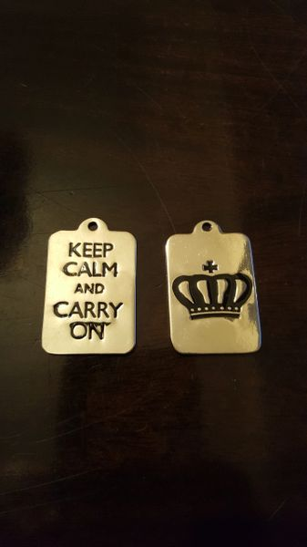 Double sided Crown/Keep Calm Pendant 27mm (1pc)