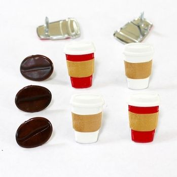 Coffee Brads (Coffee cups & Coffee beans) by Eyelet Outlet