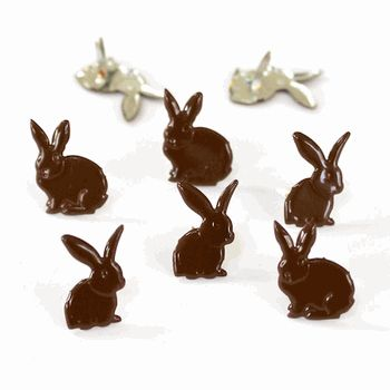 Chocolate bunny brads (12pcs) by Eyelet Outlet