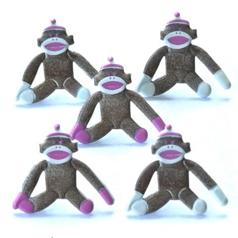 Sock Monkey (pink) brads by Eyelet Outlet